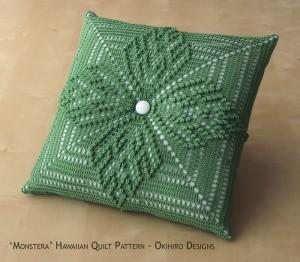 'Monstera' Hawaiian Quilt Pattern Pillow