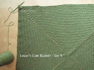 Blanket Projects – Logan's Cube Blanket, Day 9
